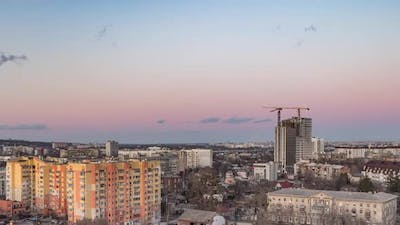 Cityscape Time Lapse Large Tower Cranes Build Multistorey Buildings