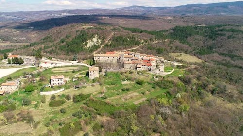 Aerial view of the medieval city of Hum at Istria region, Croatia.