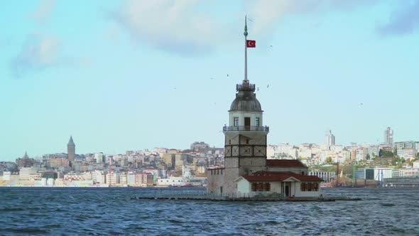 8K Historical Maiden's Tower on the Bosphorus Istanbul Turkey