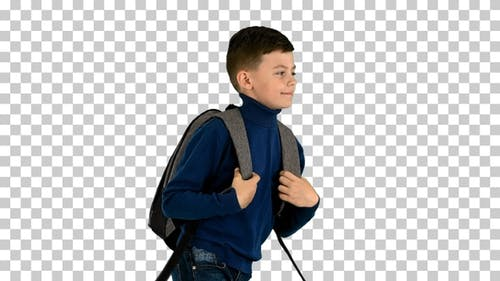 Cheerful boy in polo neck walking with a backpack, Alpha Channel