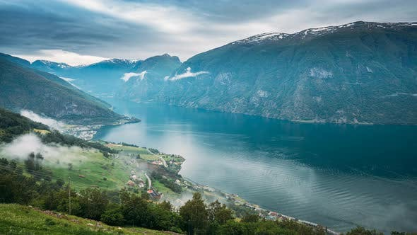 Sogn And Fjordane Fjord, Norway. Amazing Fjord Sogn Og Fjordane. In Fog Clouds. Summer Scenic View