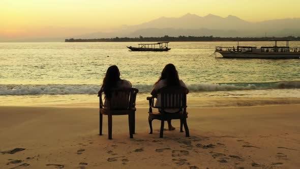 Thumbnail for Beautiful ladies enjoying life on relaxing island beach wildlife by aqua blue lagoon with white sand