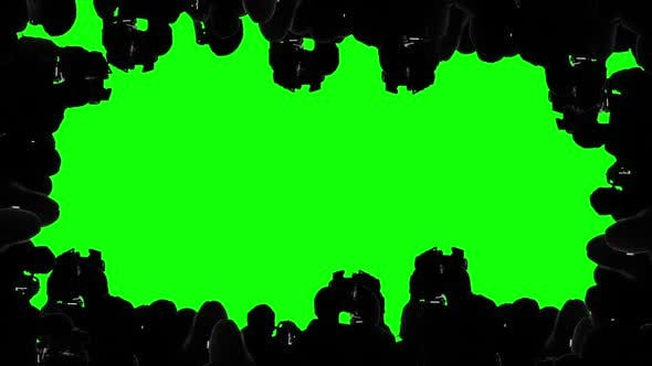 Multiple Camera Operators, Photographers, Reporters Covering Event, Green Screen