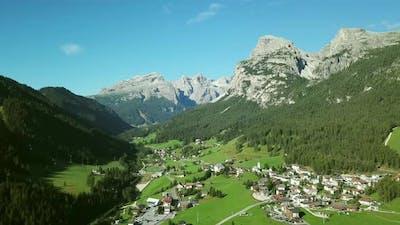 Town in valley, Alta Badia, Italy