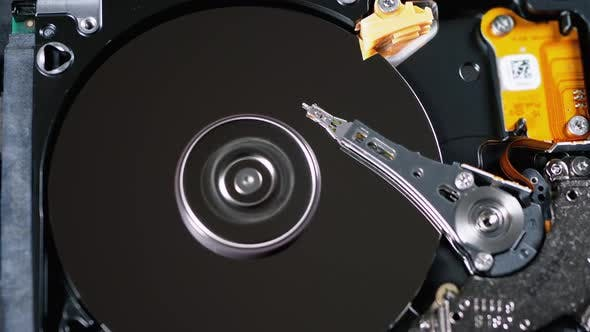 Thumbnail for Hard Disk Drive Inside. Structure of HDD, Spinning Platter. Move Magnetic Head