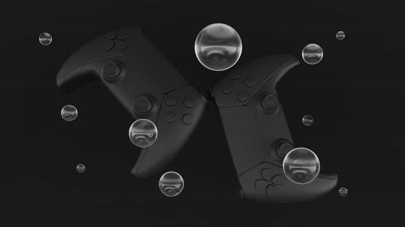 Black standard videogame controllers