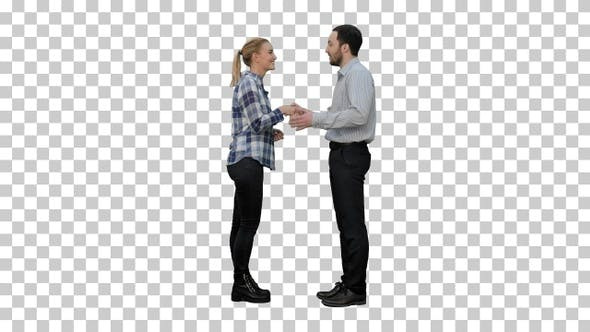 Thumbnail for Young people happy to meet each other handshaking, Alpha Channel