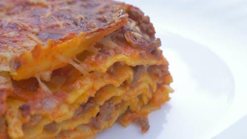 Lasagne traditional Italian cusine food 4K 2160p UHD  footage  - Lasagne food on plate close up high