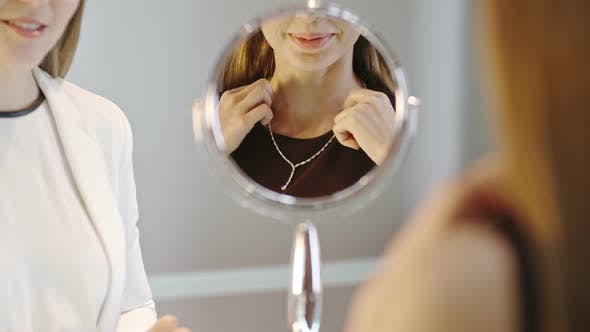 Thumbnail for Woman Trying On Necklace in Jewelry Shop