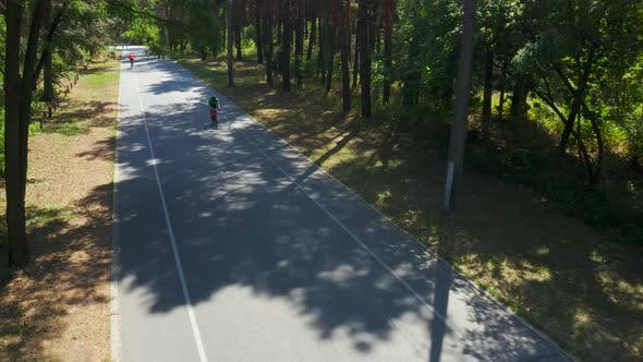 Thumbnail for Cyclist Riding Bicycle Through Park. Bike Riding. Triatlon Rider on Road From Drone Top View