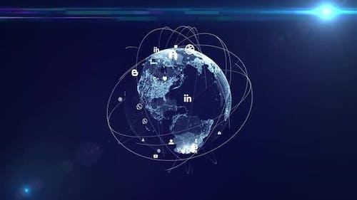 Global social network. Worldwide exchange of information by social media