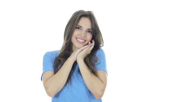 Thumbnail for Amazed by Surprise, Excited Brunette Woman, White Background