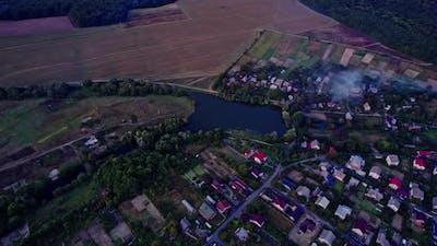 Small Ukrainian Town at Sunset