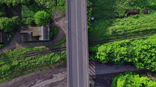 Railroad Tracks and Interchange Road Junction Bridge