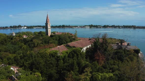 Aerial View of the Plagued Ghost Island Near Venice Italy
