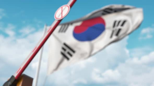 Thumbnail for Closed Gate with STOP CORONAVIRUS Sign on Korean Flag Background
