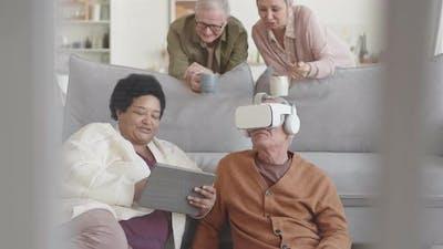 Senior Couple Enjoying Gadgets
