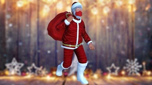 Santa Claus Walking With Mask and Sack