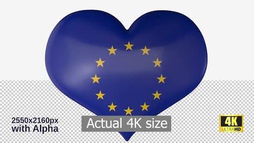European Union Flag Heart Spinning