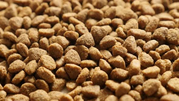 Thumbnail for Pile of pellets for cats or dogs close-up 2160p 30fps UltraHD  tilting footage - Slow tilt on pet dr