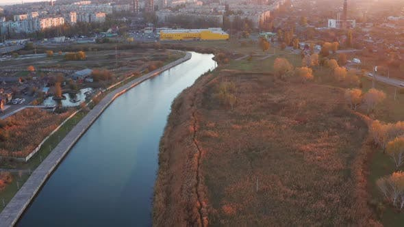 Cover Image for River in the city overgrown with reeds, autumn trees on the shore