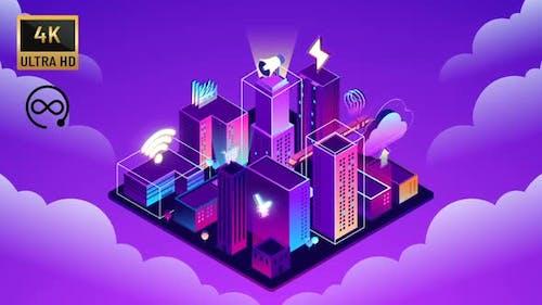 4K -  İsometric Cloud Smart City