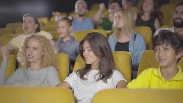 Thumbnail for Group of People Throwing Popcorn in Cinema, Portrait of Angry Film-lovers Dissatisfied with Film