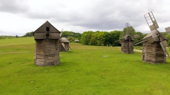 Traditional Ukrainian Historical Wooden Windmills