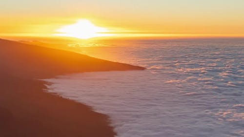Sunset Into Sea of Clouds Timelapse Background