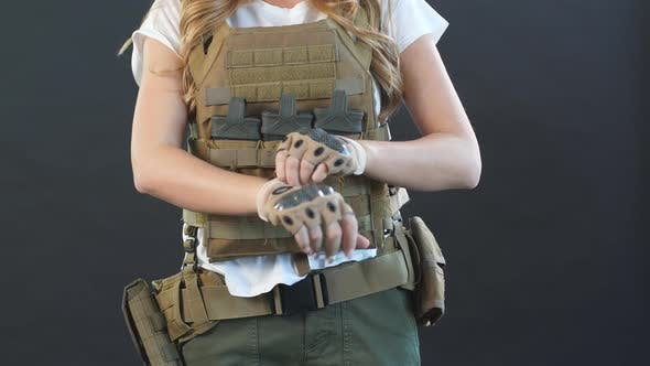 Thumbnail for Woman Soldier Dressed in Plate Carrier and Warbelt. Women, Army Concept