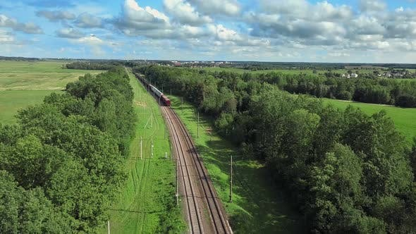 Thumbnail for Train on the Rails. Following The Freight Train, Aerial