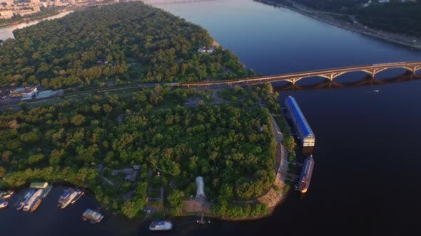 Thumbnail for Aerial Landscape Car Bridge Over River. Metro Train Moving on Bridge Railway
