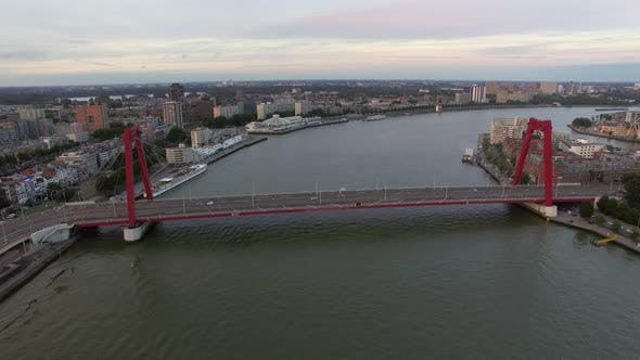 Thumbnail for Aerial Rotterdam View with Willem Bridge