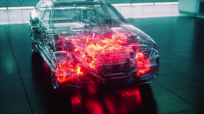Transparent Car with Engine in Laboratory
