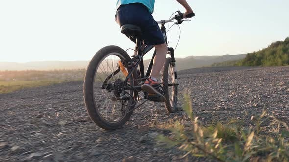 Thumbnail for Black Mountain Bike on Which the Guy Rides for a Walk