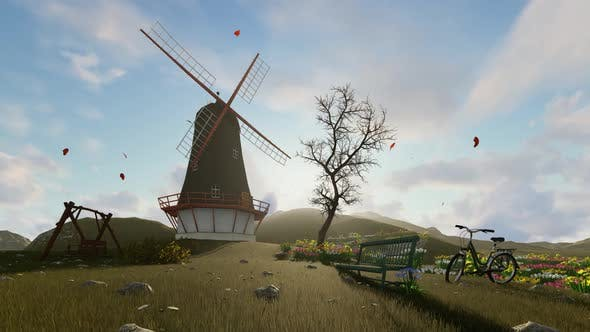 Windmill House Background Loopable