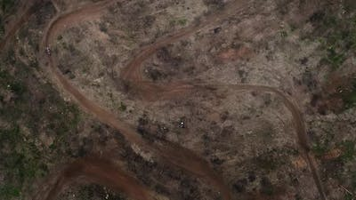 Drone View Moto Race on Racing Track