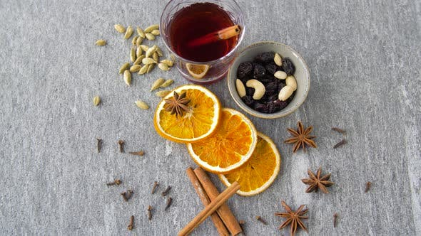 Thumbnail for Hot Mulled Wine, Orange Slices, Raisins and Spices