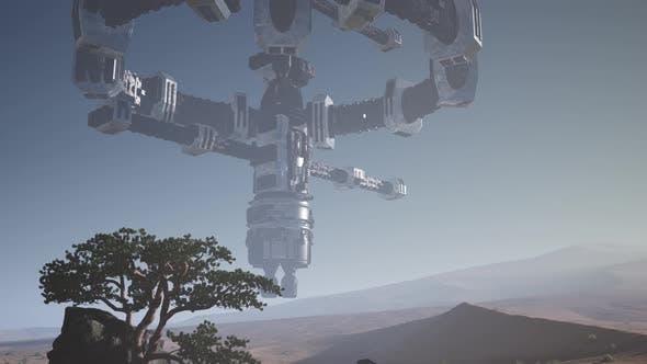 Thumbnail for Alien Spaceship Rotate Over Desert. Ufo