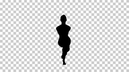 Silhouette woman in Eagle yoga pose, Alpha Channel