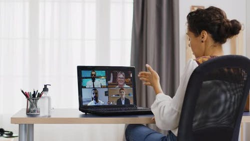 Business Woman in a Remote Video Call