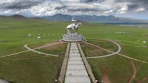 Equestrian Statue of Great Warrior Genghis Khan in Ulaanbaatar Mongolia With Aerial