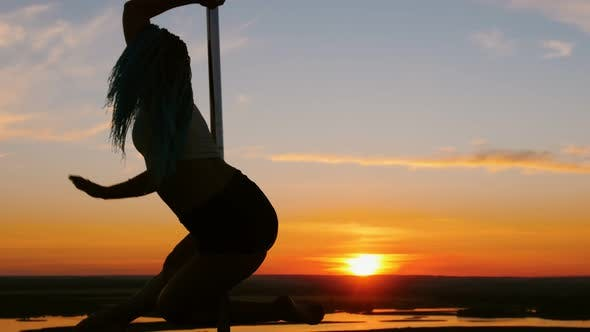 Thumbnail for Pole Dance on Sunset - Attractive Woman with Long Blue Braids Dancing