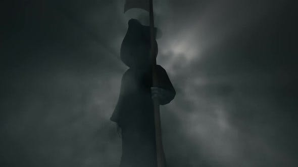 Thumbnail for Halloween Death Grim Reaper Idle in Scary Foggy Background