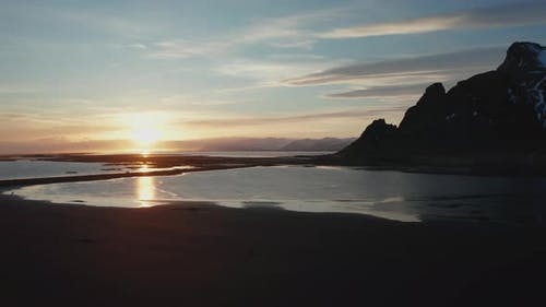 Aerial View of Vestrahorn at Stokksnes Beach Before Sunset. Iceland