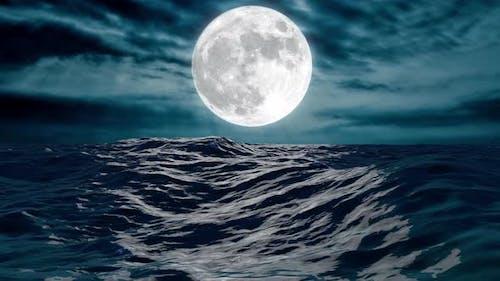 NIGHT OCEAN AND FULL MOON 4K