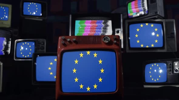 Europe flags and retro Televisions.