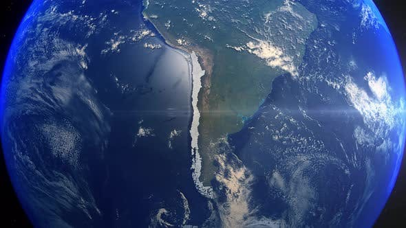 Realistic Earth Zoom Highlight Country Chile