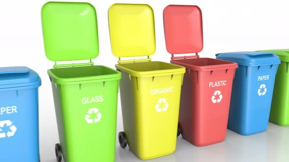 Cover Image for Plastic Waste Bins with Flaps Open and Close and Waste Type Labels against White Background