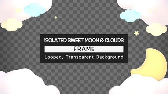 Isolated Sweet Moon And Clouds Frame
